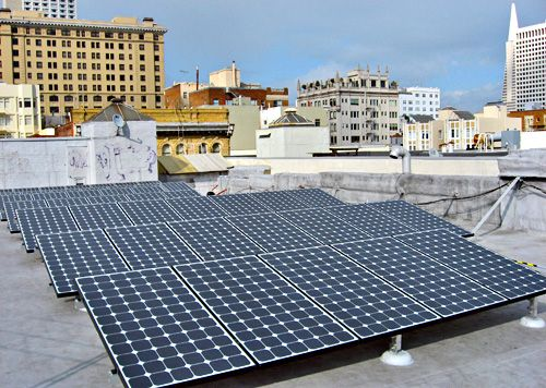 Solar Electric Install On The Roof Of Grant Hotel