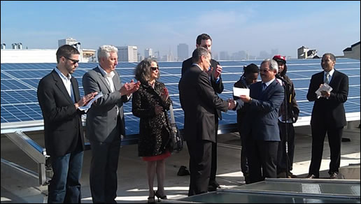 Greg Kennedy GM of Occidental Power, Mayor Ed Lee and other constituents gather for GoSolar program